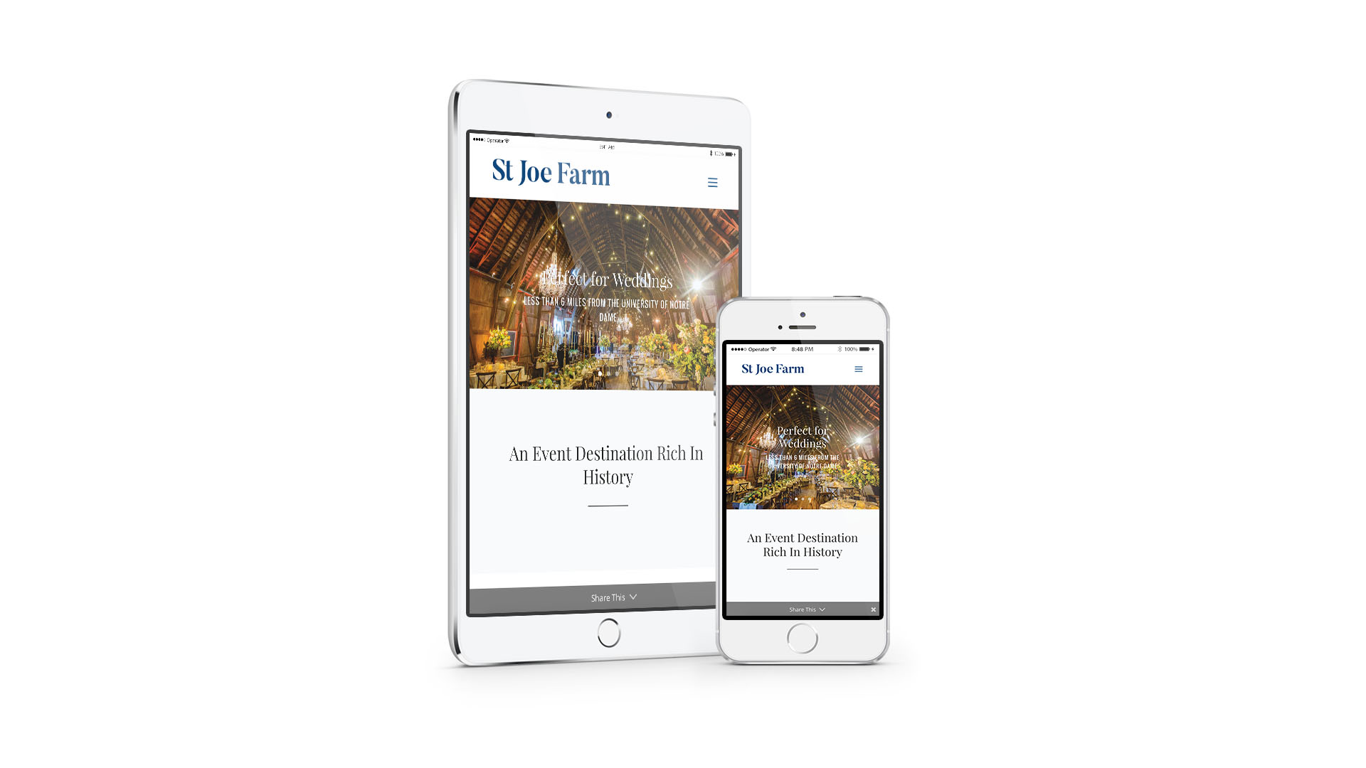 St Joe Farm responsive website